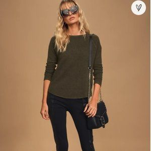 Lulus Between Us Olive Green Thermal Knit Sweater